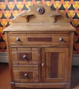 Early Victorian Commode Wash Stand Back Splash W Candle Stands 3 Drawer 1 Door