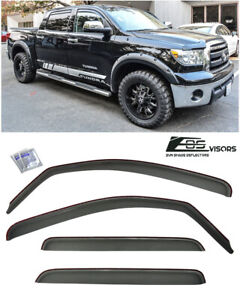 In Channel Smoke Tinted Side Window Visors For 07 Up Toyota Tundra Crew Max Cab