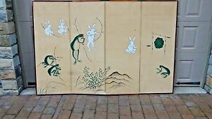 Early 20c Japanese Watercolor On Paper Frog Bunny 4 Panel Screen