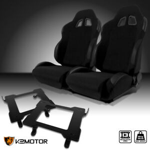 Fit 1999 2004 Mustang Black Cloth Pvc Leather Racing Seats laser Welded Brackets