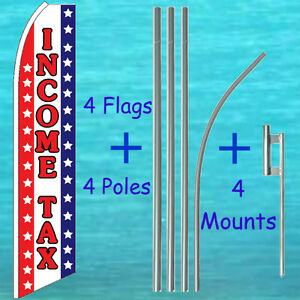 Income Tax 4 Flutter Flags 4 Pole Kits Advertising Sign Feather Swooper Banner