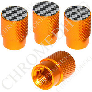 4 Gold Billet Aluminum Knurled Tire Air Valve Stem Caps Carbon Fiber Design