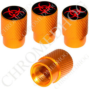 4 Gold Billet Aluminum Knurled Tire Air Valve Stem Caps Red Zombie Bio Hazard