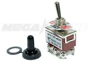 Toggle Switch Heavy Duty 20a 125v Dpdt On off on W waterproof Boot Usa Seller