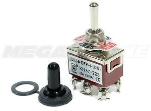 Toggle Switch Heavy Duty 20a 125v Momentary Dpdt on off on W waterproof Boot
