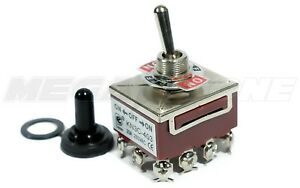 Toggle Switch Heavy Duty 20a 125v 4pdt On off on W waterproof Boot Usa Seller