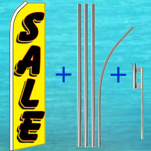 Sale Yellow Flutter Flag Pole Mount Kit Tall Curved Top Feather Swooper Banner