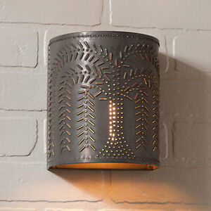 Willow Sconce Light In Blackened Tin By Irvin S Country Tinware