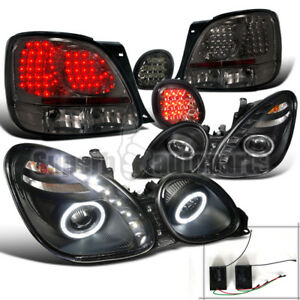 For 98 05 Lexus Gs300 Led Halo Projector Headlight Black tail Trunk Lights Smoke