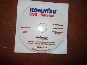 Komatsu Backhoes Skid Steer Loaders Service Shop Repair Manual Cd