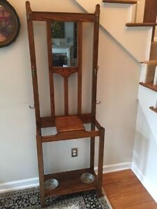 Really Nice Vintage Oak Hall Tree Umbrella Stand