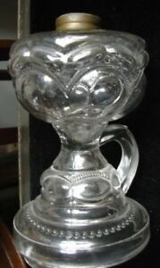 Rare 1890 S Victorian Clear Eapg Peanut Glass 6 Ftd Finger Oil Kerosene Lamp