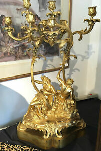 C 1870 Century Gold Gilded Bronze Candelabra Figural Group Louis Xv Style