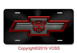 Chevy Chevrolet Bowtie Transformers Autobot Aluminum Car Truck License Plate Red
