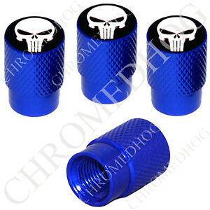 4 D Blue Billet Aluminum Knurled Tire Air Valve Stem Caps Punisher Skull Wb