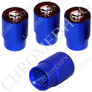 4 D Blue Billet Aluminum Knurled Tire Air Valve Stem Caps Punisher Skull 0rwb