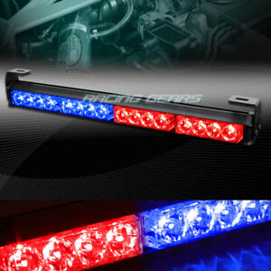 18 Led Red Blue Traffic Advisor Emergency Warn Flash Strobe Light Universal 9