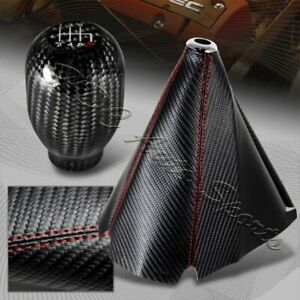Jdm Carbon Style Red Stitch Manual Shift Boot T r 6 speed Carbon Shifter Knob