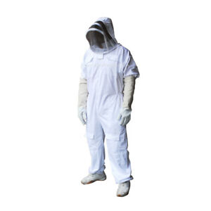 Bee Suit Veil Hood Full Protection Honey Beekeeping Free Gloves Xl Size