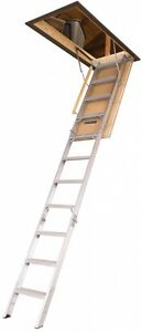 New Aluminum Folding Attic Ladder Type Iaa 375 lb Capacity R5 Insulated Door