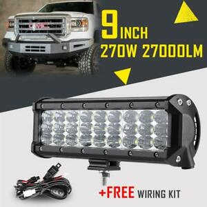 9inch 270w Cree Led Light Bar Spot Flood Combo Beam Tri Row Atv Suv Work Pk 168w