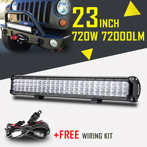 8d Tri Row 23inch Cree Led Work Light Bar Combo Beam Driving Car Truck 720w 24