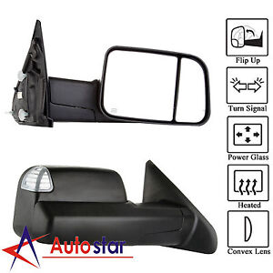 L R Power Heated Telescoping Tow Mirror For Dodge Ram 98 01 1500 98 02 2500 3500