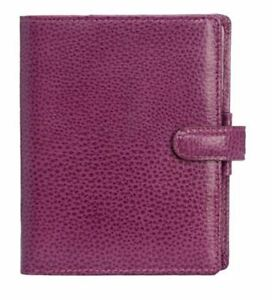 Filofax Finsbury Pocket Grained Leather Organiser Raspberry With Popper Closure