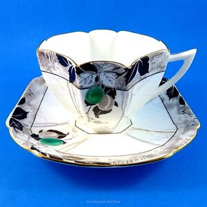 Green Plum And Black Design Square Shelley Tea Cup And Saucer Set