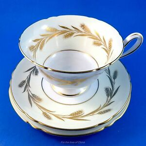Shelley Golden Harvest Tea Cup Saucer And Plate Trio Set