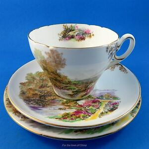 Scenic Shelley Heather Tea Cup Saucer And Plate Set Trio