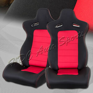 Red black Woven Fabric Sports Style Reclining Racing Seats sliders Universal