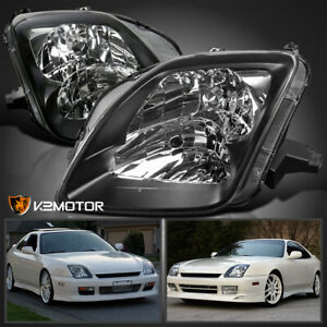 For 1997 2001 Honda Prelude Black Bezel Headlights Lamps Replacement Left right
