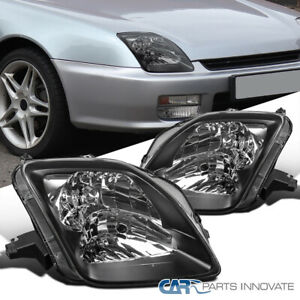 97 01 Fit Honda Prelude Black Housing Headlights Clear Head Lamps Replacement