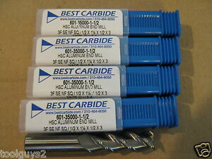 1 2 x1 1 2 locx3 Long 3 Flute High Performance Alum Carbide End Mill Lot Of 5