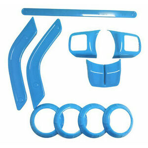 10pcs Kit Interior Accessories Cover Trim Light Blue For Jeep Wrangler 2 Door b