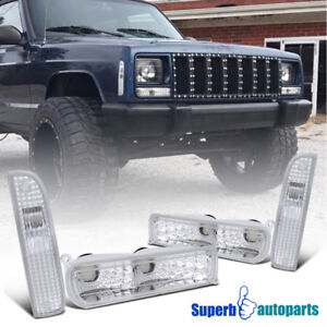 1997 2001 Jeep Cherokee Corner Signal Lights Bumper Parking Lamps Chrome Clear