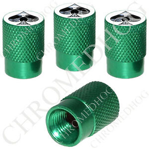 4 Green Billet Aluminum Knurled Tire Air Valve Stem Caps Chrome Skull Spade W