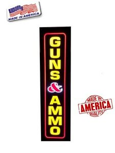Guns Ammo Sign Led Light Box Sign 12 x48 x2