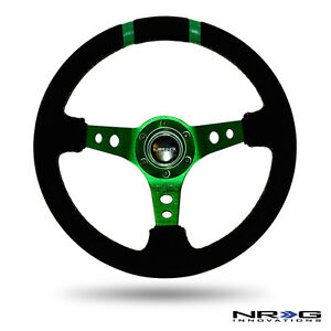 Nrg Steering Wheel 350mm Green Spokes Finish Black Suede 3 Deep Dish W Horn