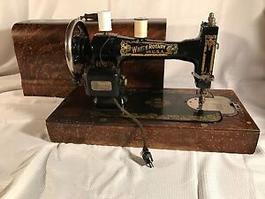 White Rotary Sewing Machine Vintage Has Attachments A Beauty In Case