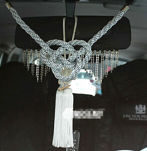 2 In 1 For Chinese White Kiku Knot Gray Kin Rope In Car Rearview Mirror Hang Act