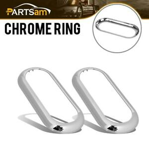 2 Oval Chrome Visor Bezels Rings For 6 Grommet Mount Led Stop Turn Tail Lights