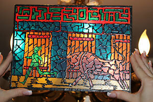 Vintage Spain Running Of The Bulls Stained Glass Window Small Man Chased By Bull