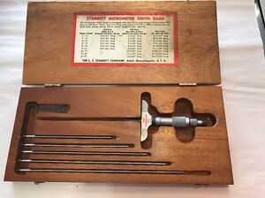 Starrett No 440 Depth Micrometer 0 9 Wood Case