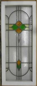 Large Old English Leaded Stained Glass Window Abstract Floral 16 75 X 40 25