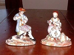 Rare Pair Of French Sevres Hand Painted Porcelain Figurines