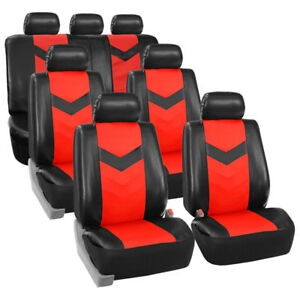 3 Row Car Seat Covers Leather 7 Seater Suv Van Set Red