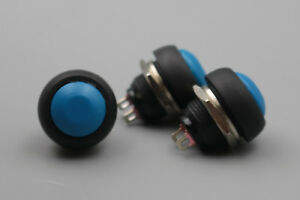 100pcs Blue 12mm 2pin Waterproof Round Momentary Push Button Reset Switch