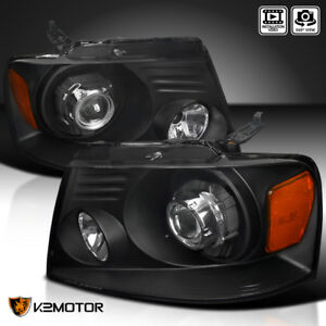 Black 2004 2008 Ford F150 06 08 Lincoln Mark Lt Retrofit Projector Headlights